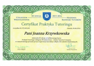 Certyfikat Praktyka Tutoringu
